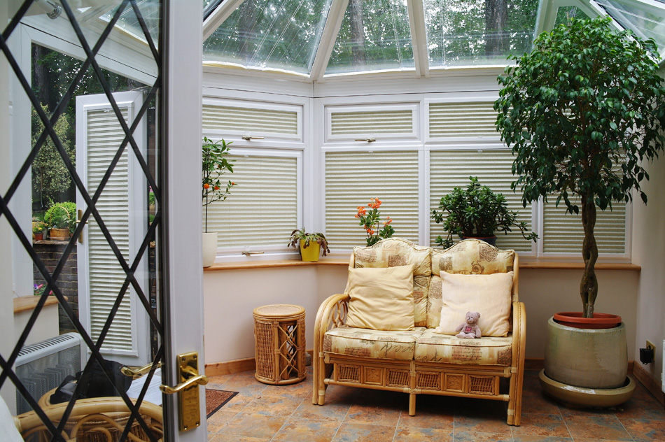 Perfect fit Conservatory Blinds fitted to a conservatory manufactured by Direct Order blinds